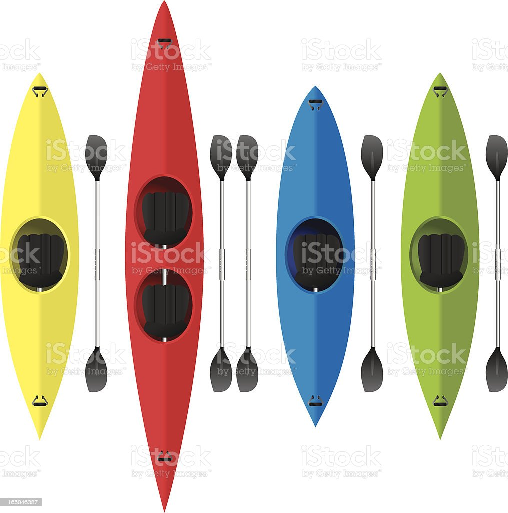 Four vector designs of colorful kayaks vector art illustration