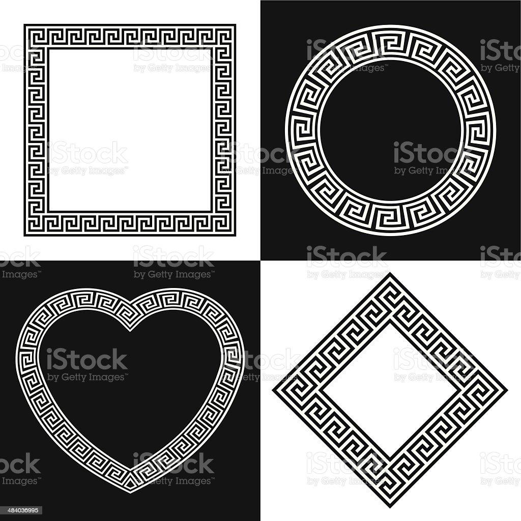 Four Vector Greek Key Border Frame Shapes vector art illustration