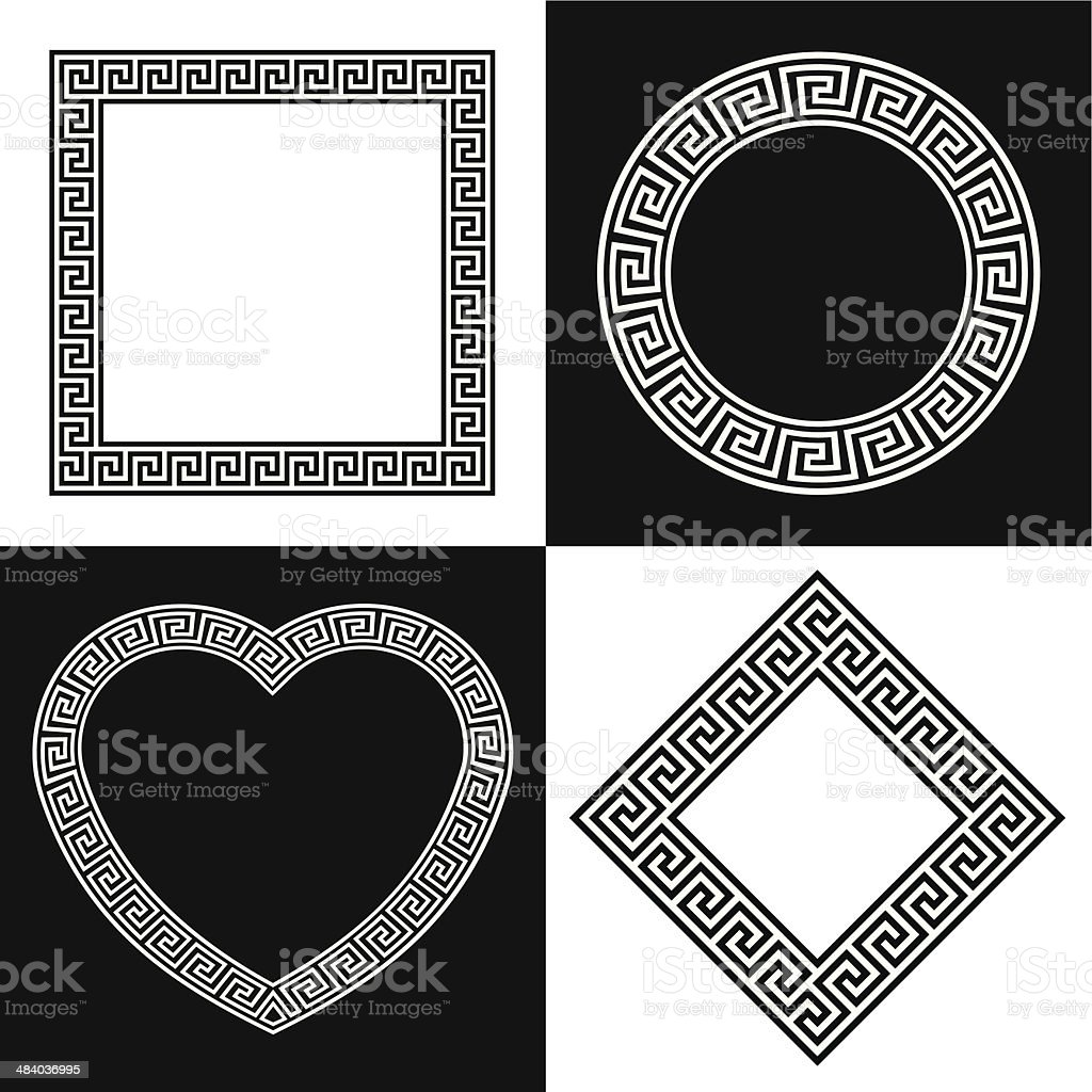 Four Vector Greek Key Border Frame Shapes vector art illustration