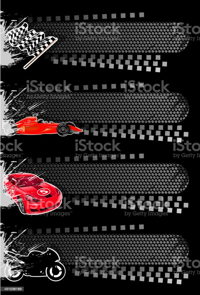 Four vector sport banners including cars vector art illustration