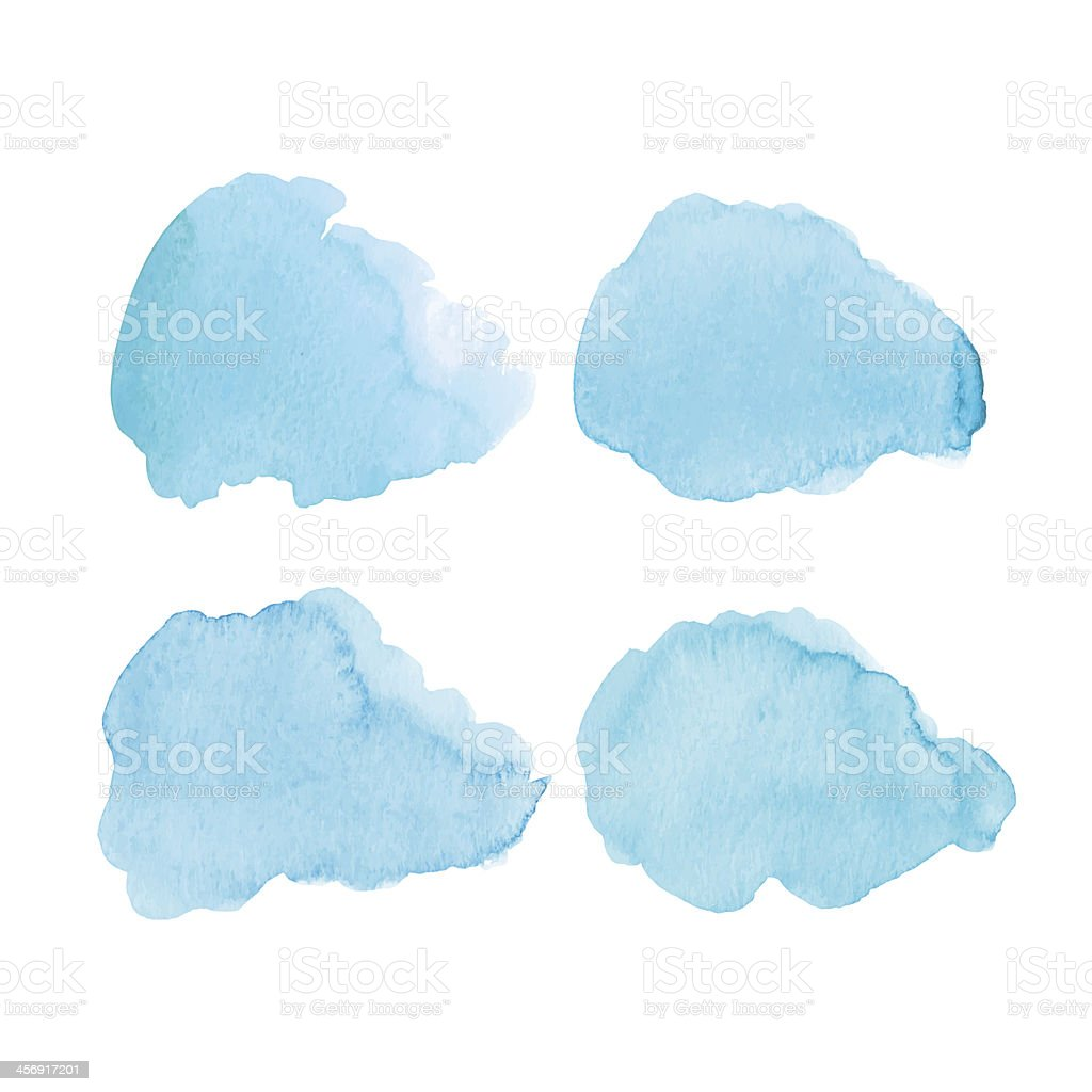 Four watercolor clouds on a white background vector art illustration