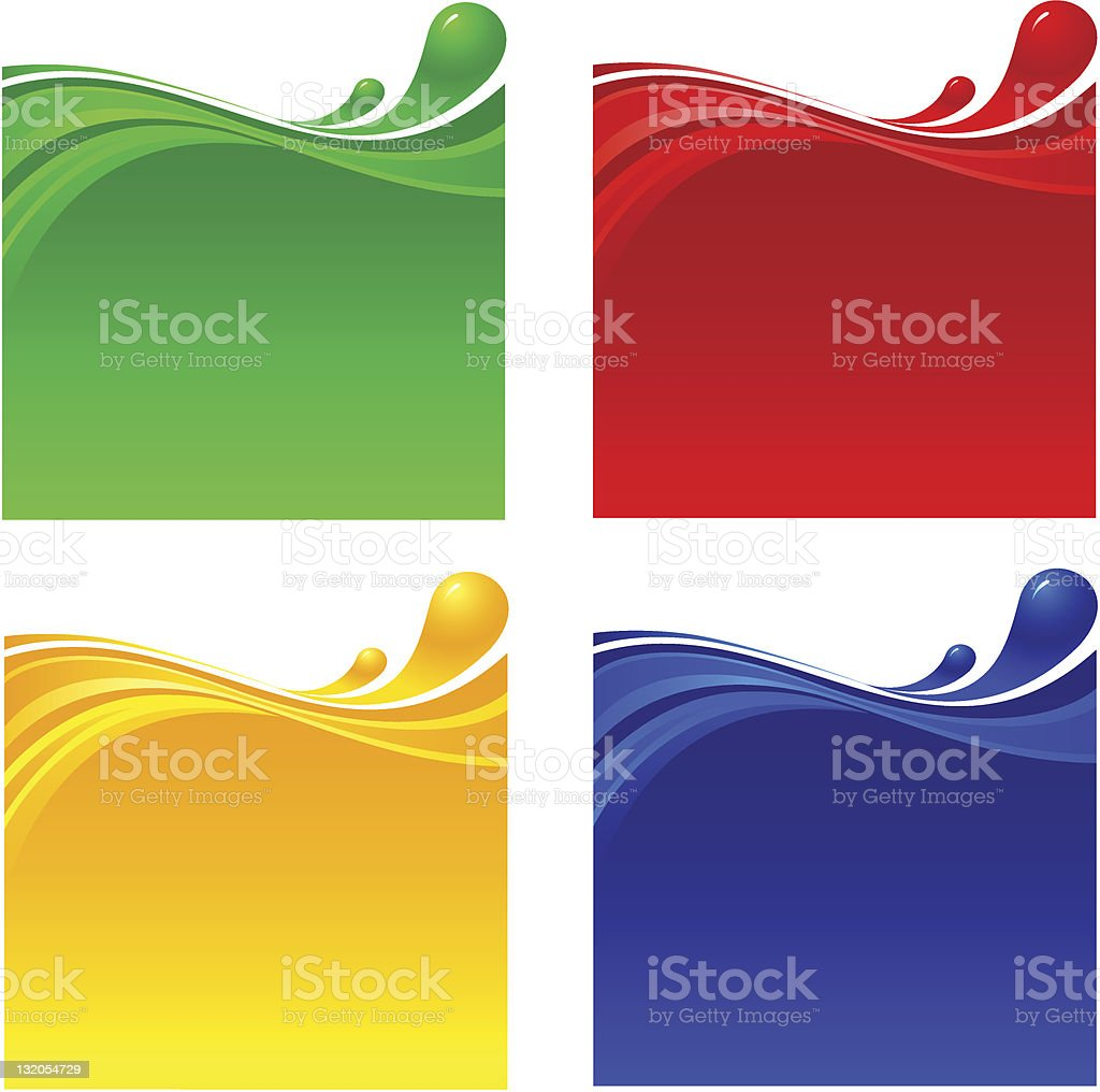 Four wave patterns in four different colors royalty-free stock vector art