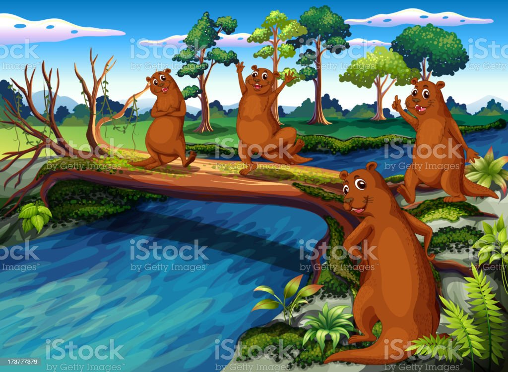 Four wild animals at the riverside royalty-free stock vector art