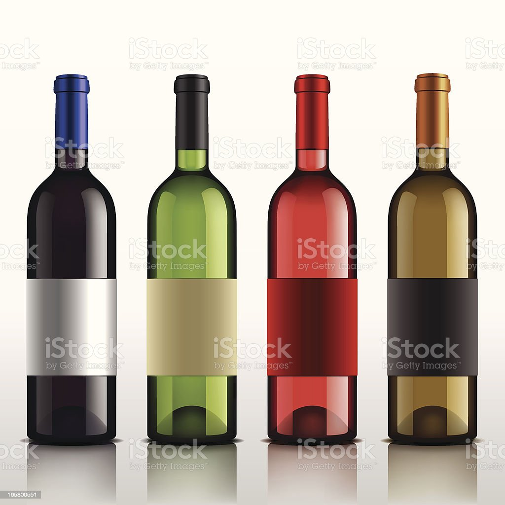 Four wine bottles in different colors royalty-free stock vector art