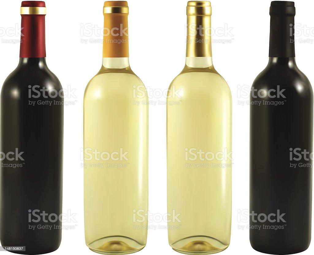 four wine bottles royalty-free stock vector art