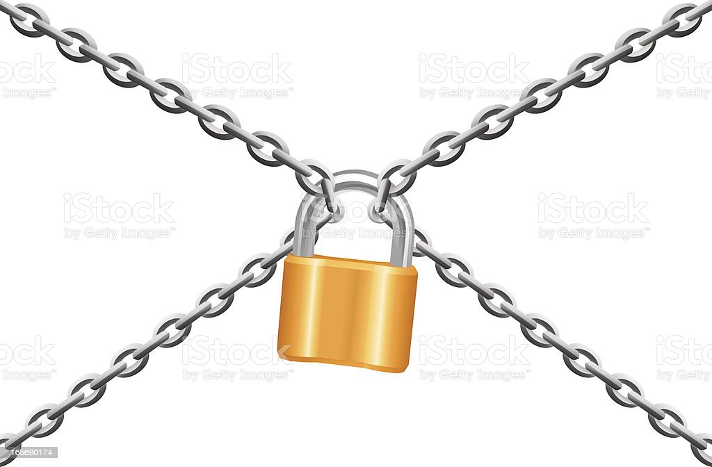 Four wire chains meeting in a padlock royalty-free stock vector art