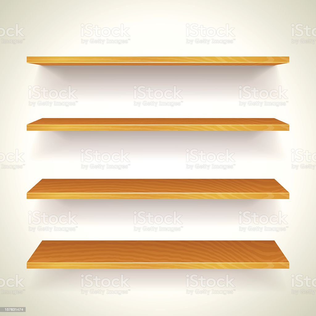 Four wooden bookshelves on one another attached to a wall royalty-free stock vector art