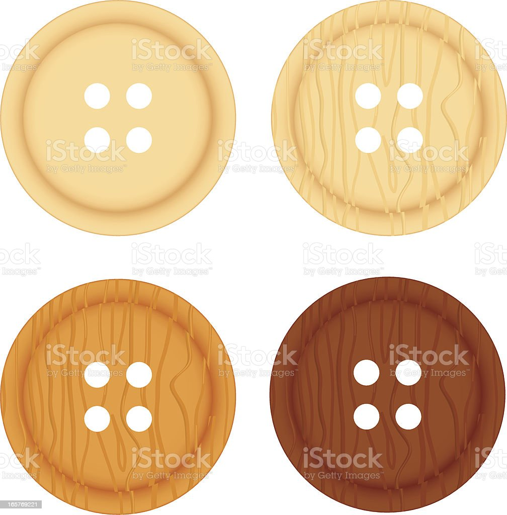 Four wooden buttons royalty-free stock vector art