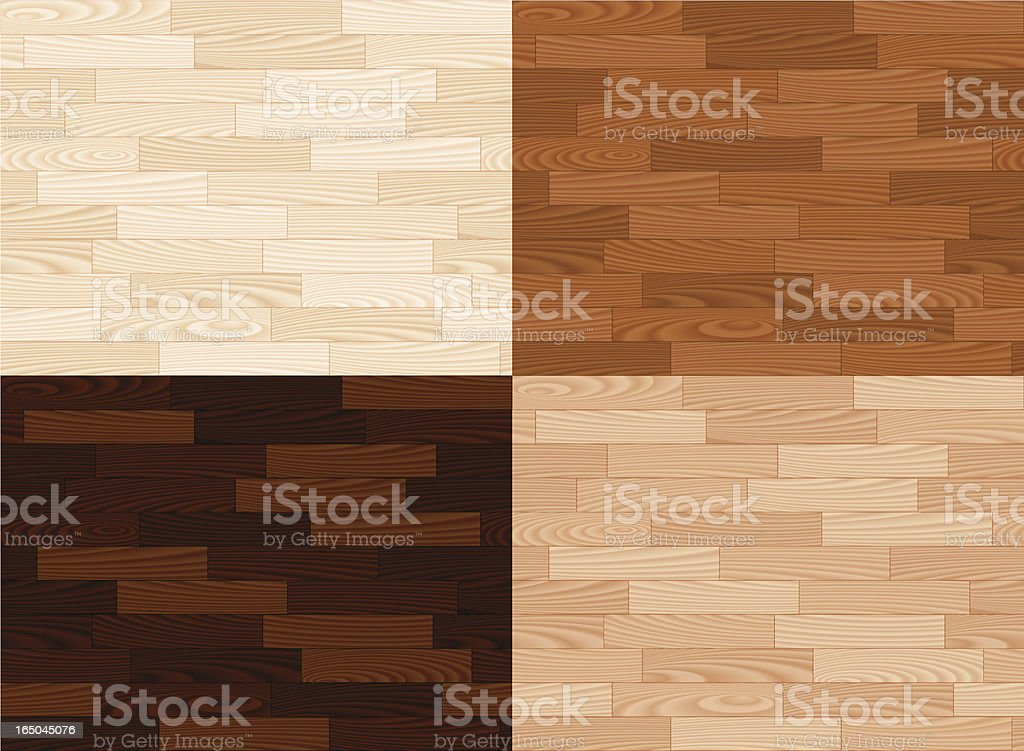 Four wooden tiles in different colors vector art illustration
