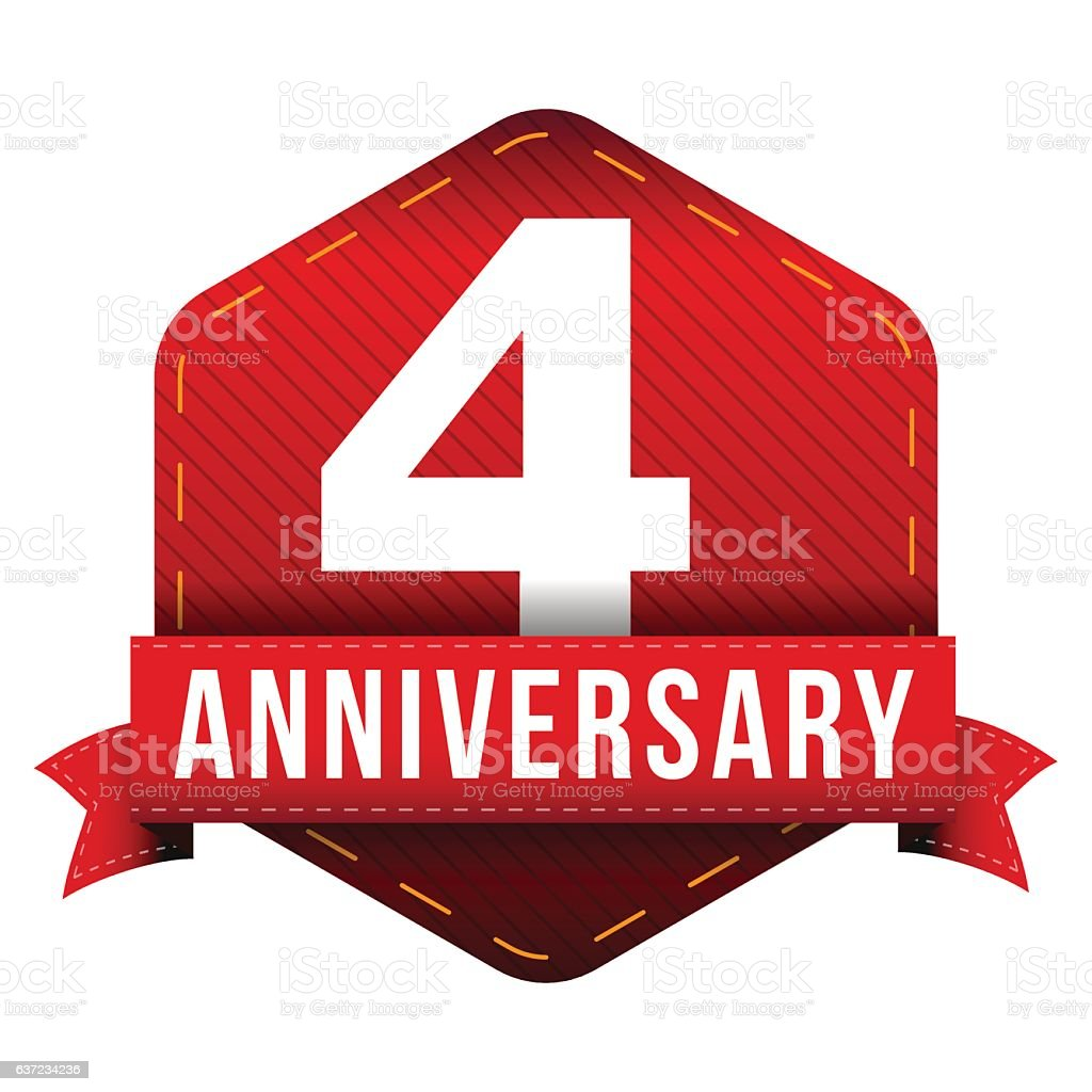 Four year anniversary badge with red ribbon vector art illustration