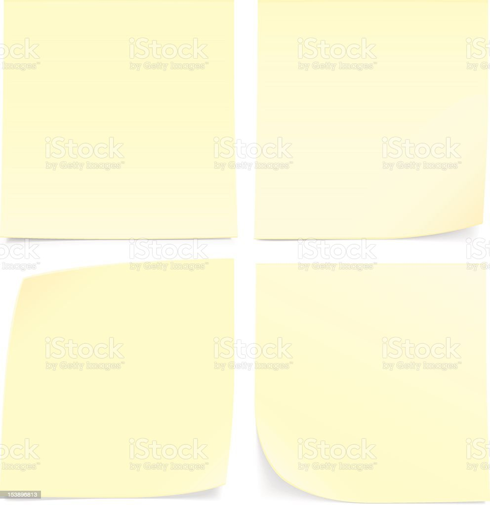 Four yellow sticky notes on a white wall vector art illustration
