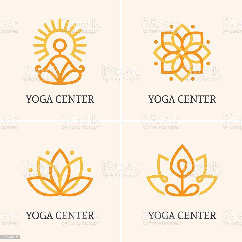 Four yoga icons set vector art illustration