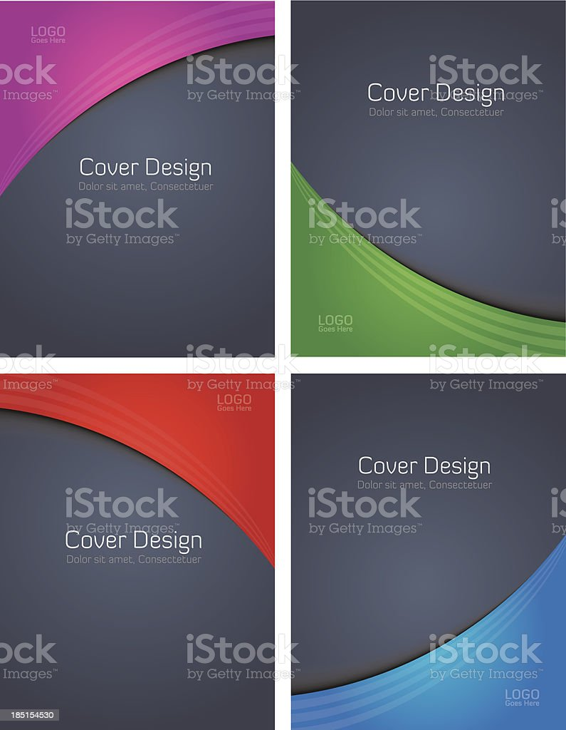 FourColoredCovers-OnGrey vector art illustration
