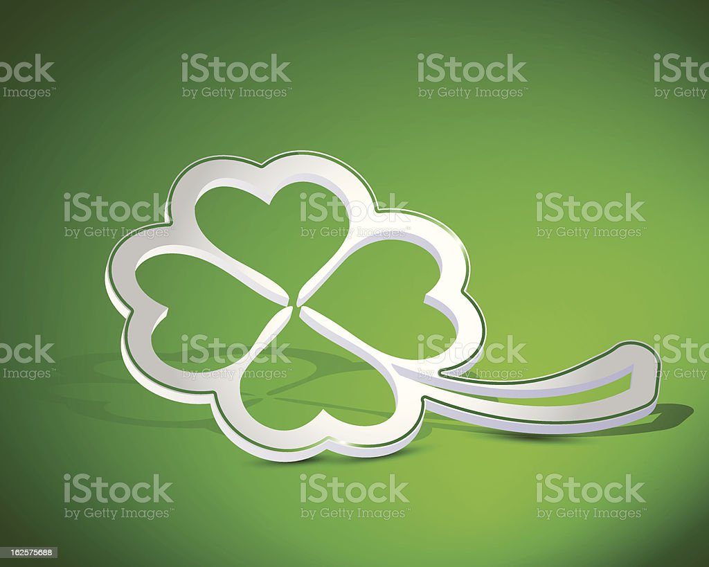 Four-leaf clover shape from paper royalty-free stock vector art