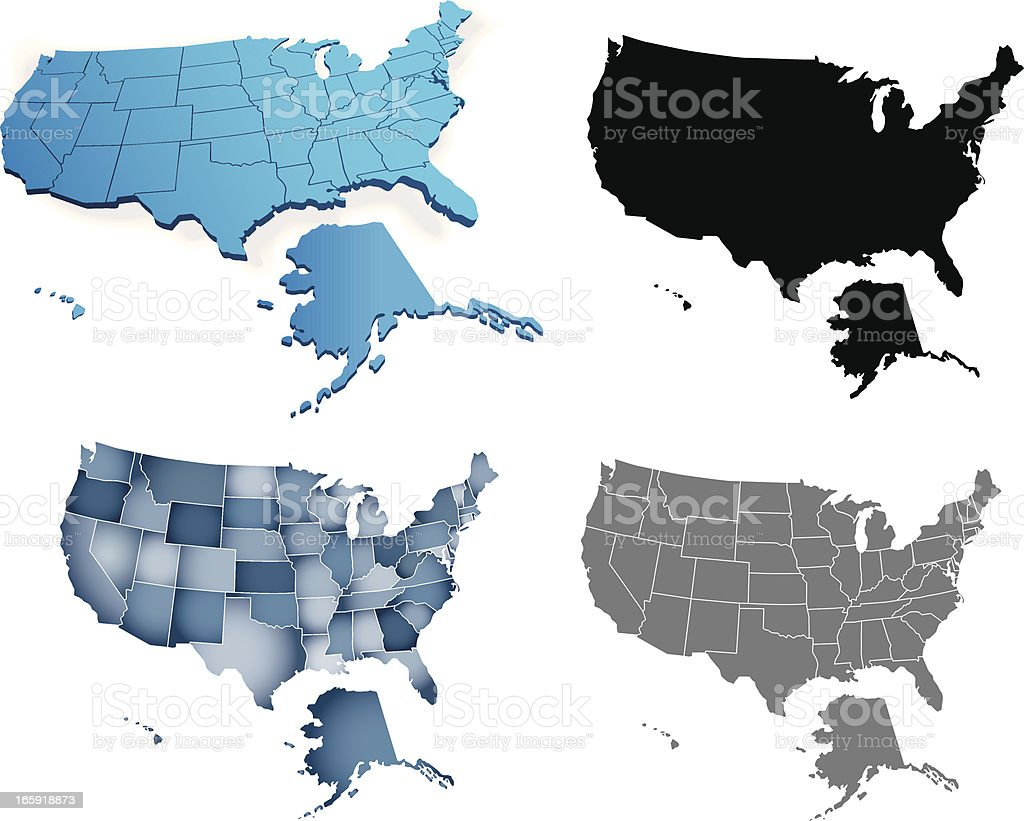 Fours styles of depicting the USA map royalty-free stock vector art