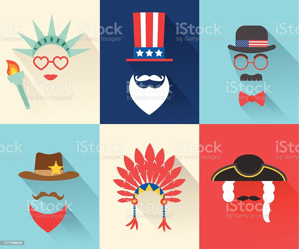 Fourth July Independence Day characters vector art illustration