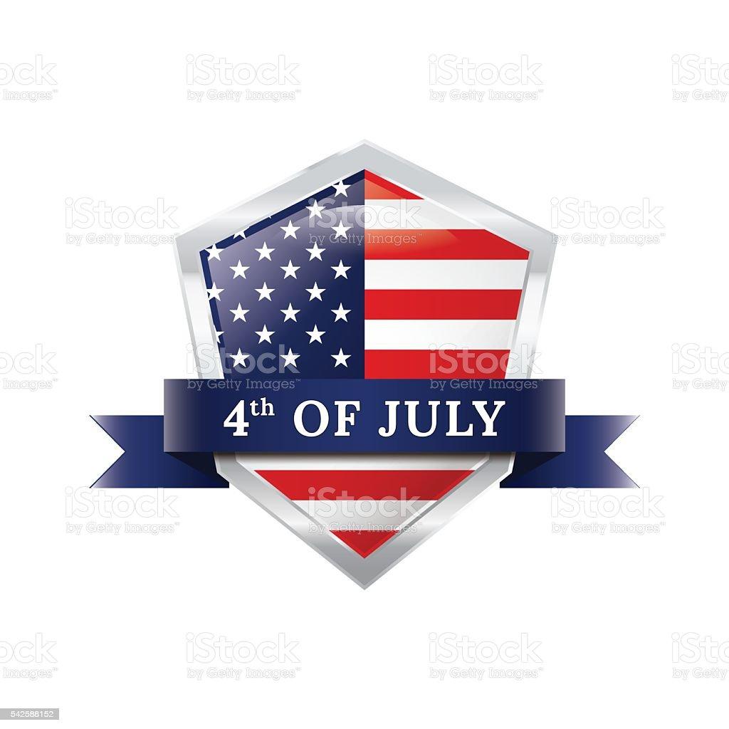 Fourth of July badge ribbon vector art illustration