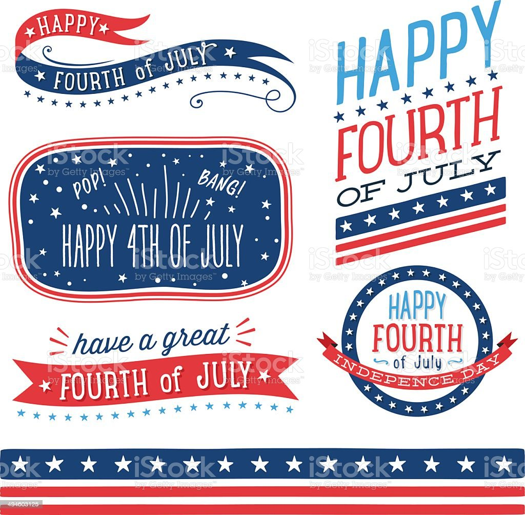 Fourth of July Badges vector art illustration