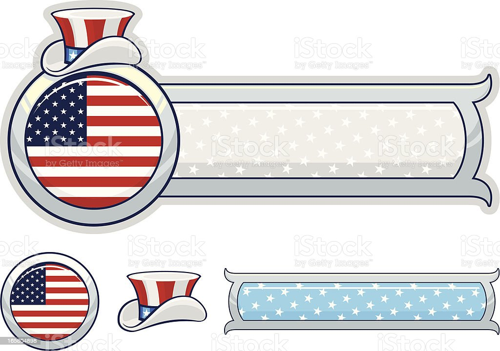 Fourth of July banner and elements royalty-free stock vector art