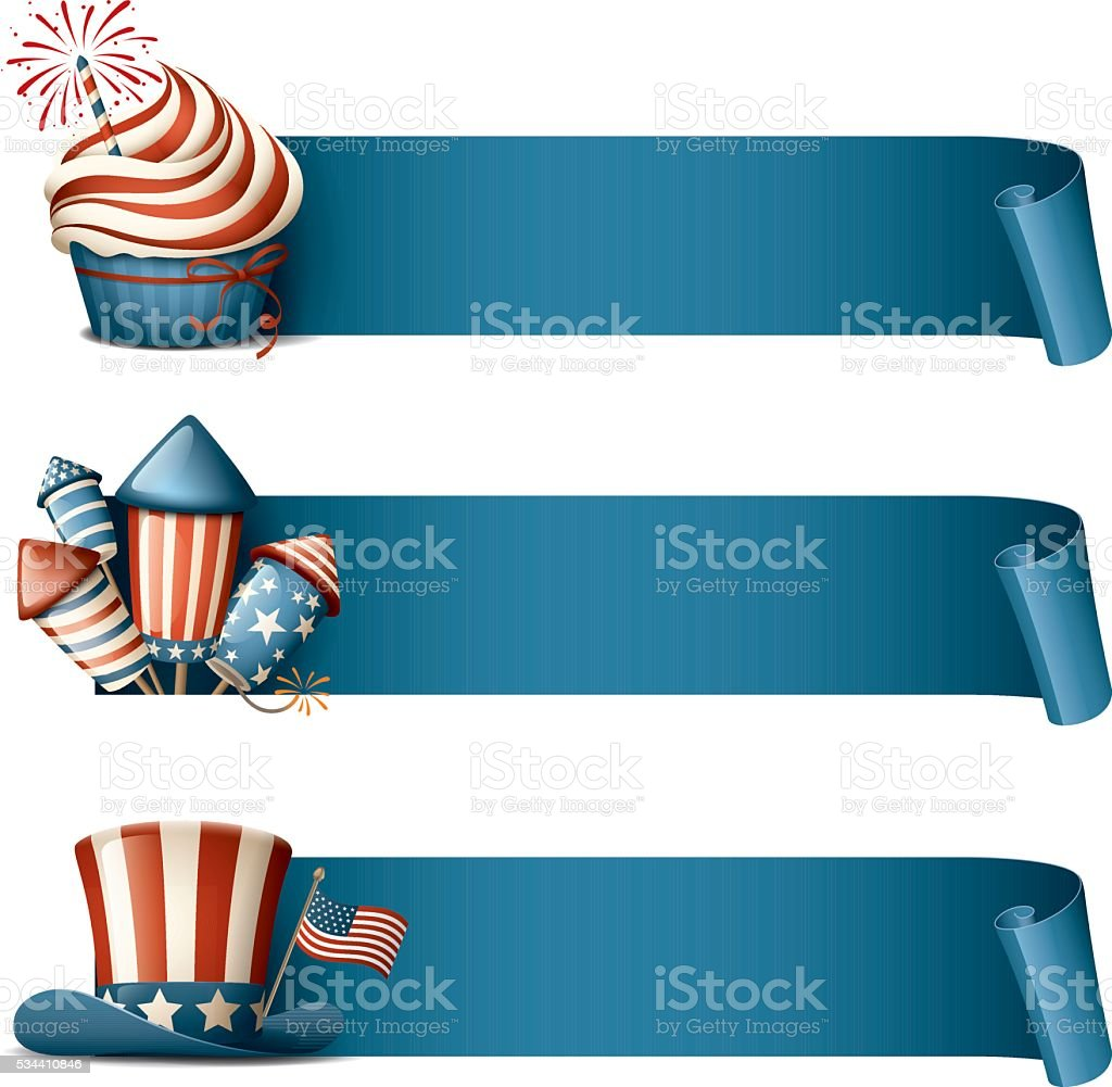 Fourth of July - banners vector art illustration