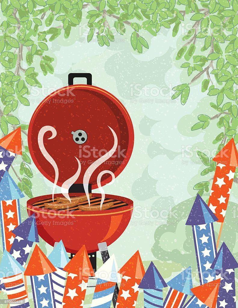 Fourth of July BBQ and Fireworks vector art illustration
