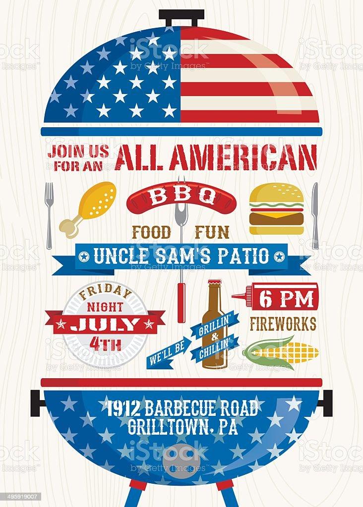 Fourth of July BBQ vector art illustration