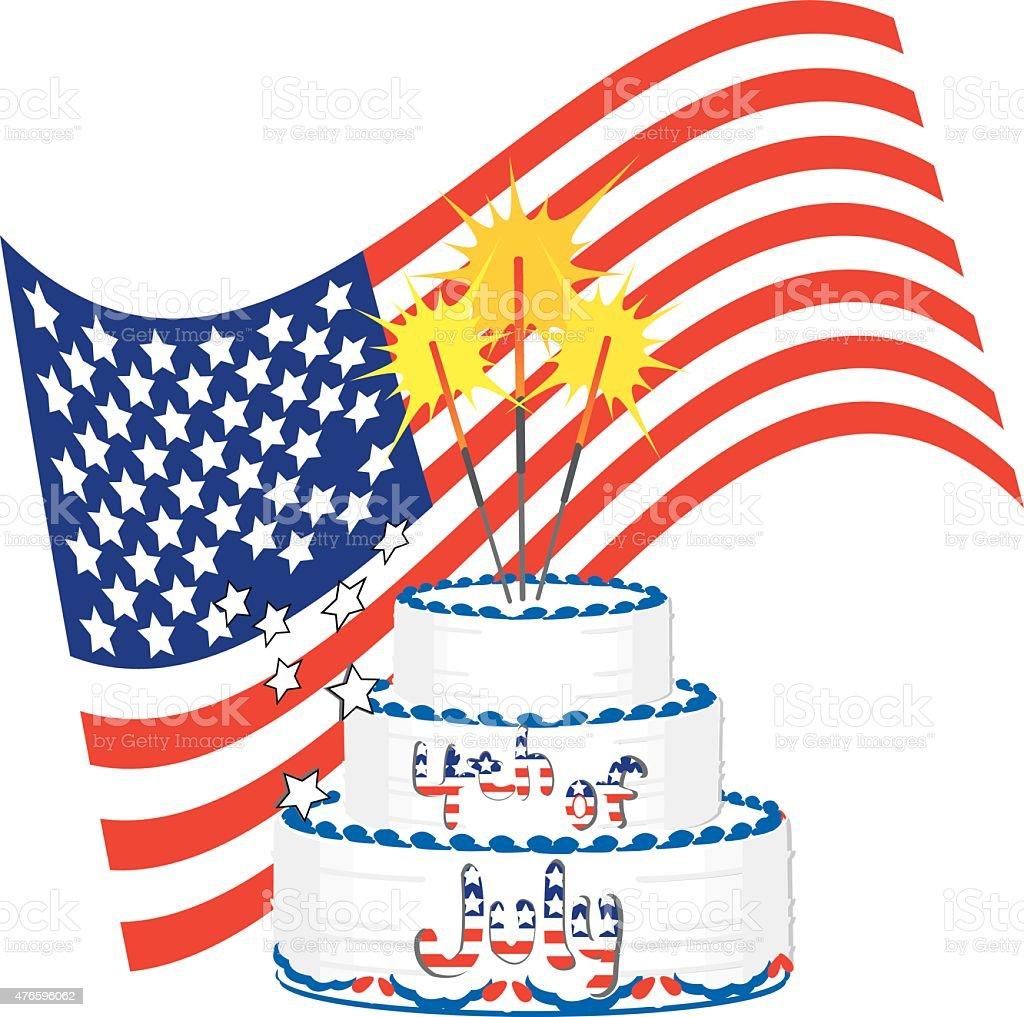Fourth of July Birthday Cake vector art illustration
