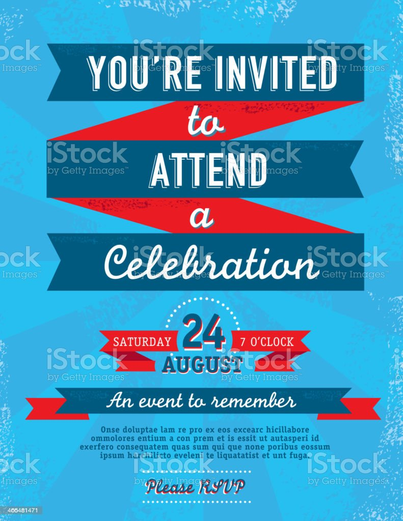 Fourth of July Bright and colorful retro invitation template vector art illustration