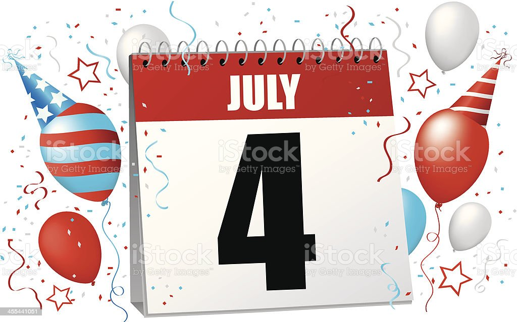 Fourth of July Calendar royalty-free stock vector art
