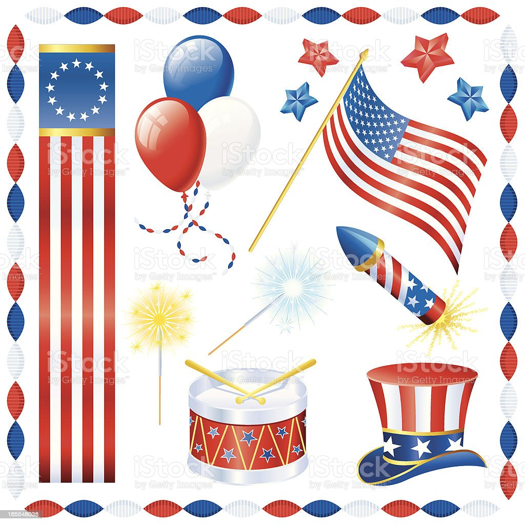 Fourth of July Decorations vector art illustration