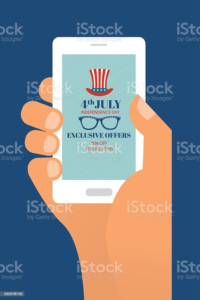 Fourth of July Exclusive Online Offers Sale. hand holding a vector art illustration
