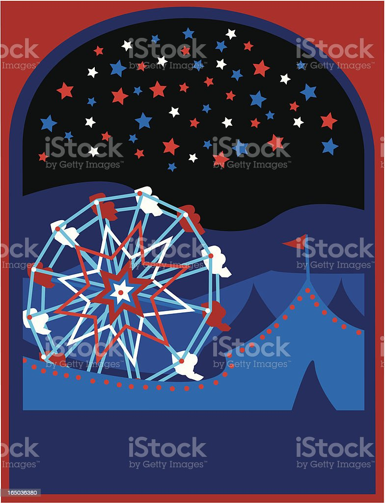US Fourth of July fair with fireworks. royalty-free stock vector art