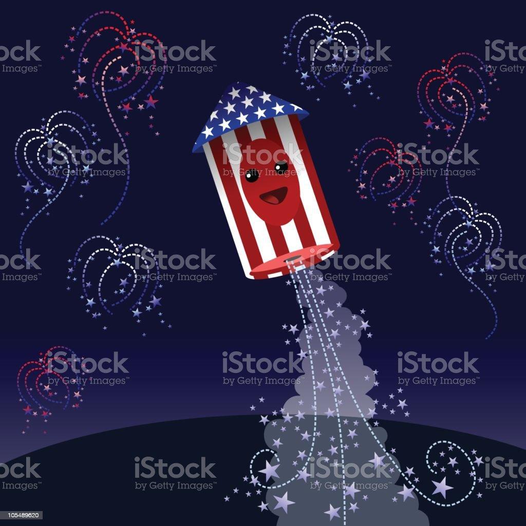Fourth of July Fireworks vector art illustration