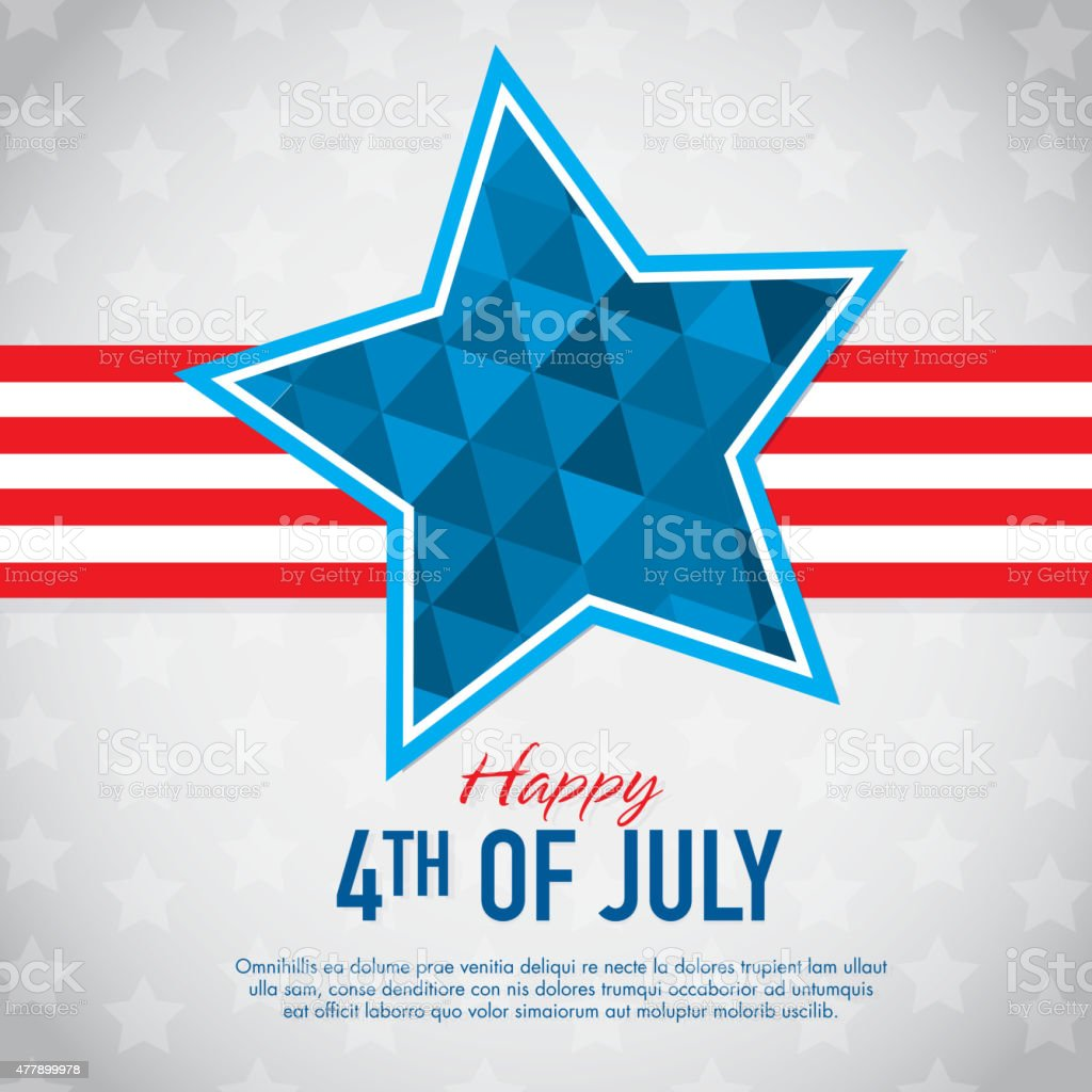 Fourth of July Happy Celebration greeting card design template vector art illustration