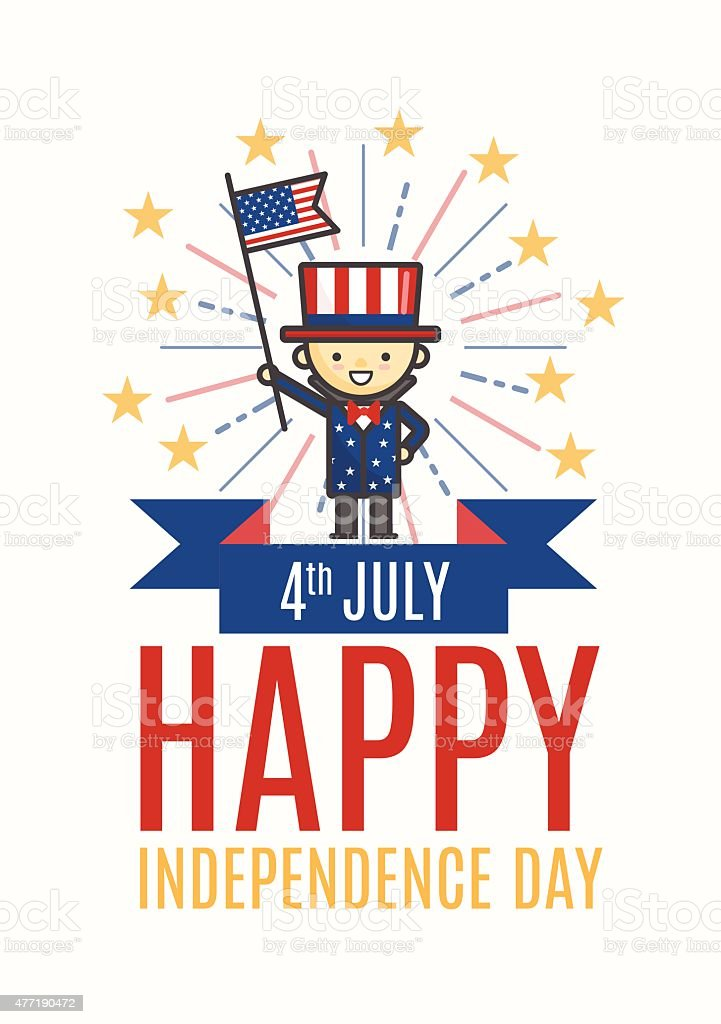 Fourth of July Happy Independence day greeting card vector art illustration