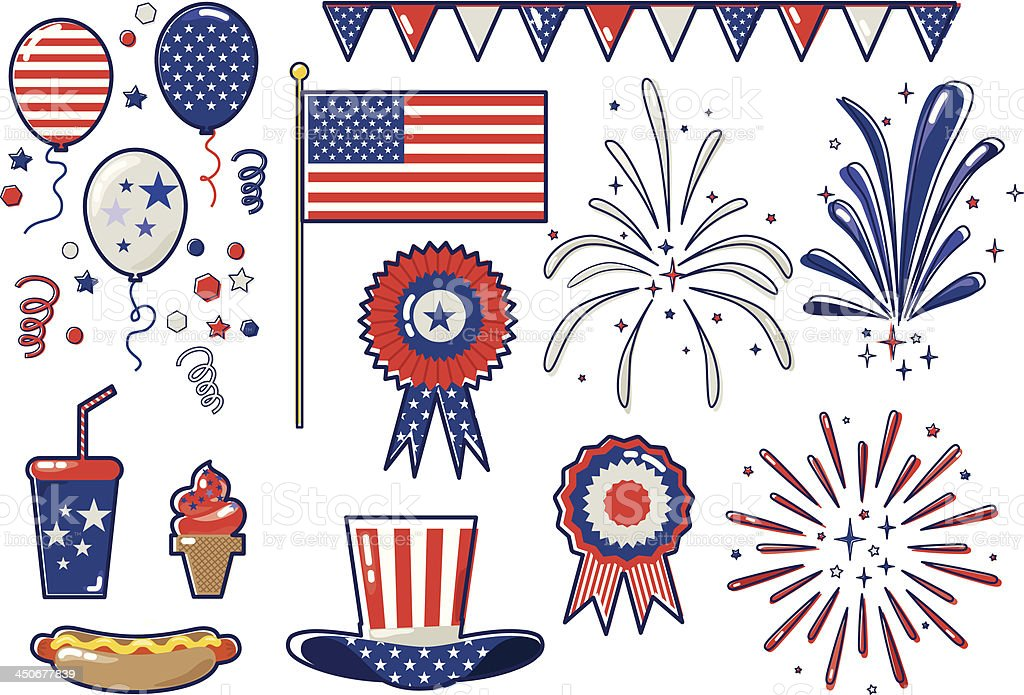 Fourth of July icons royalty-free stock vector art