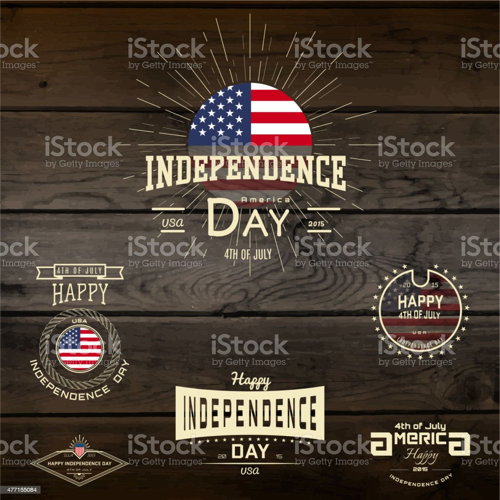 Fourth of July Independence Day USA badges for any use vector art illustration