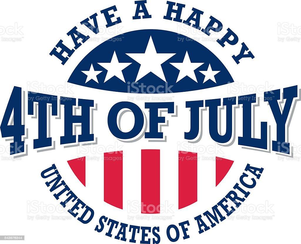 Fourth of July Independence Day vintage label vector art illustration