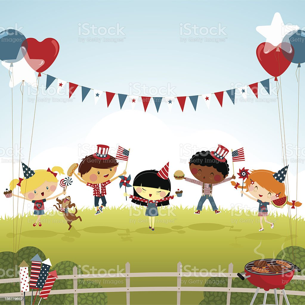 fourth of july kids party bbq illustration vector summer royalty-free stock vector art