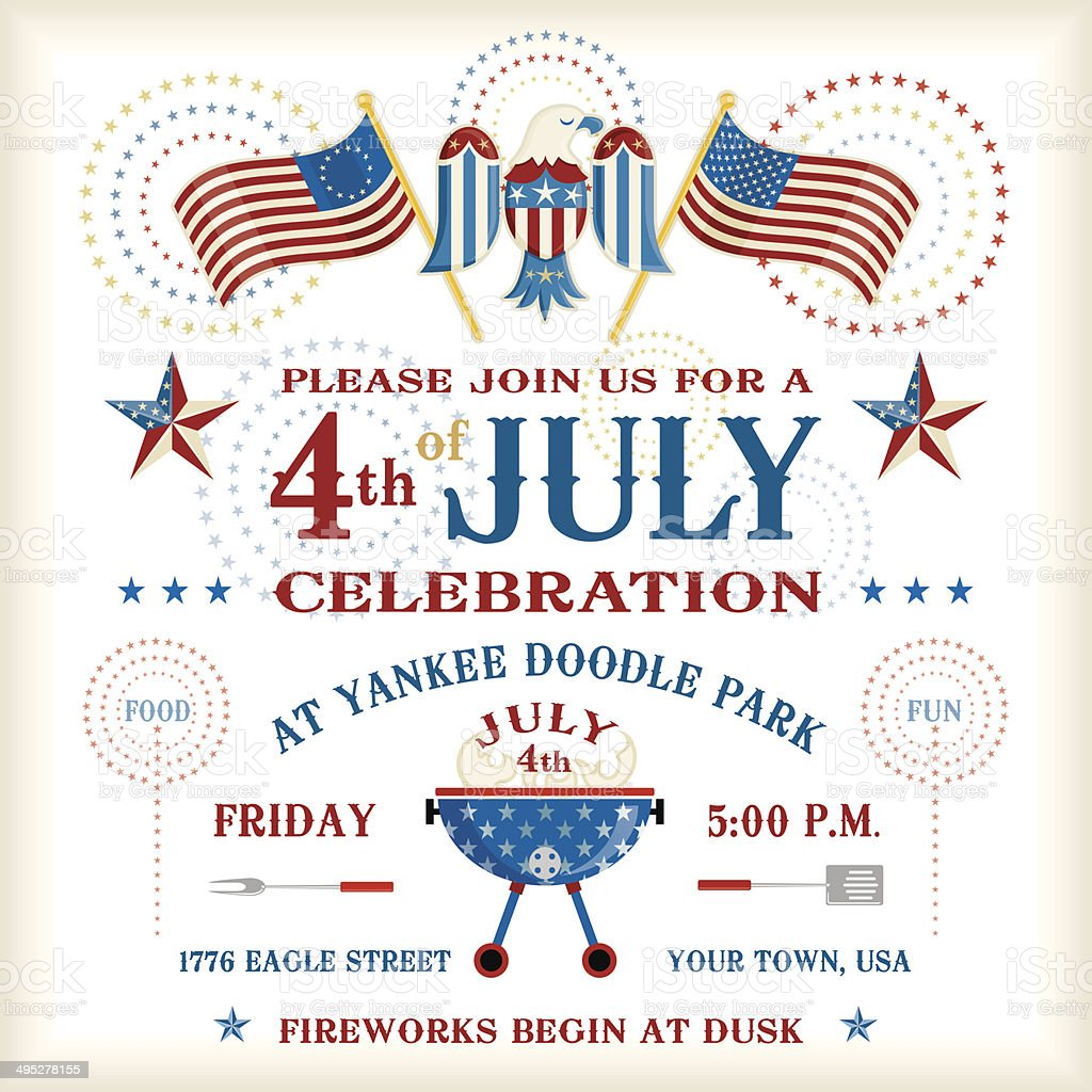 Fourth of July Party Invitation vector art illustration
