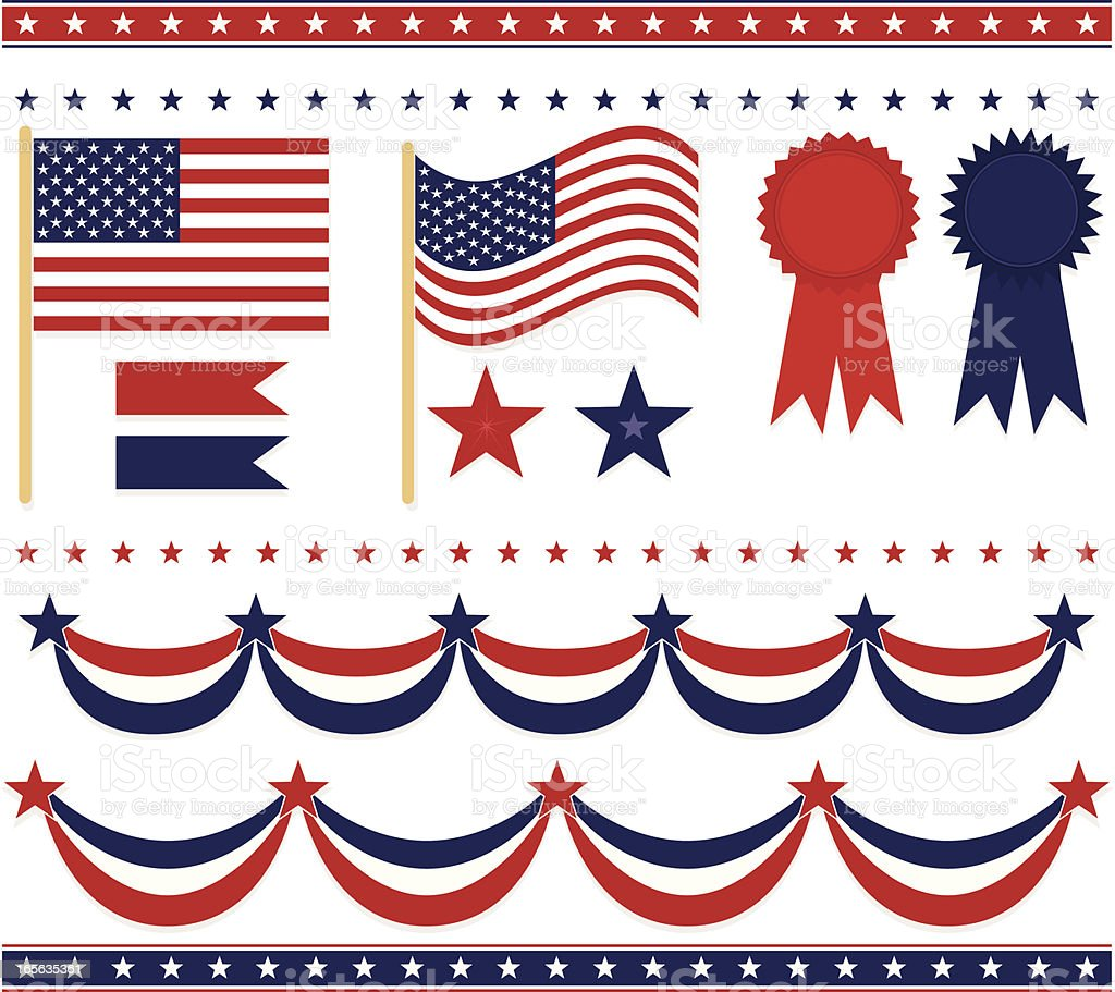 Fourth of July, Patriotism Set: Flags, Stars, Emblems, Borders, Sashes vector art illustration