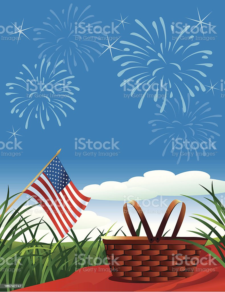 Fourth of July Picnic royalty-free stock vector art