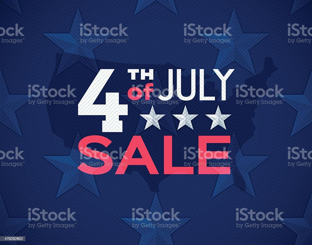 Fourth of July Sale Seamless Stars Background vector art illustration
