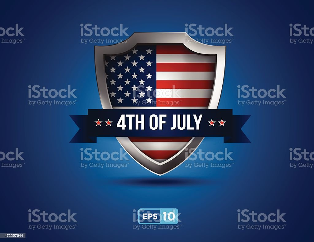 fourth of july shield on the blue background vector art illustration