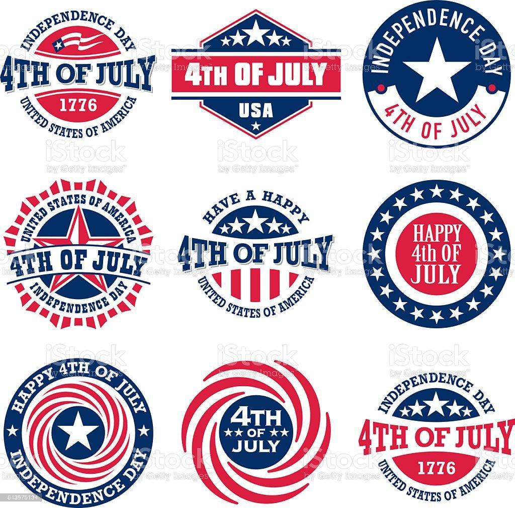 Fourth of July vintage labels for US Independence Day vector art illustration