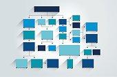 Fowchart. Blue Colored shadows scheme.