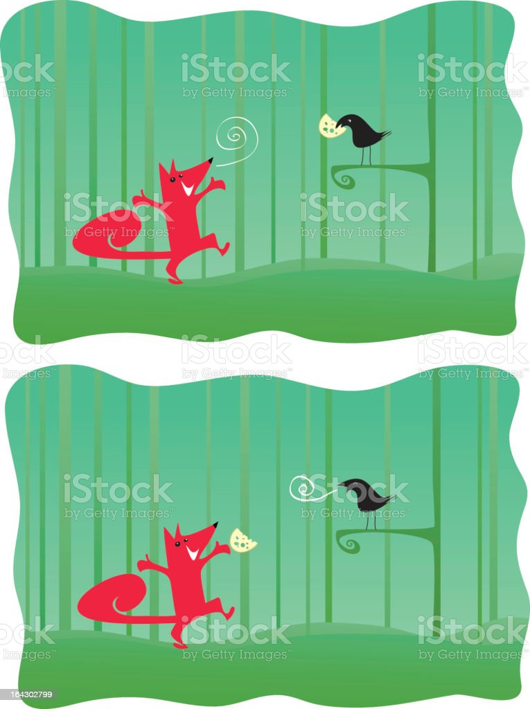 Fox and crow - Aesop Fable royalty-free stock vector art