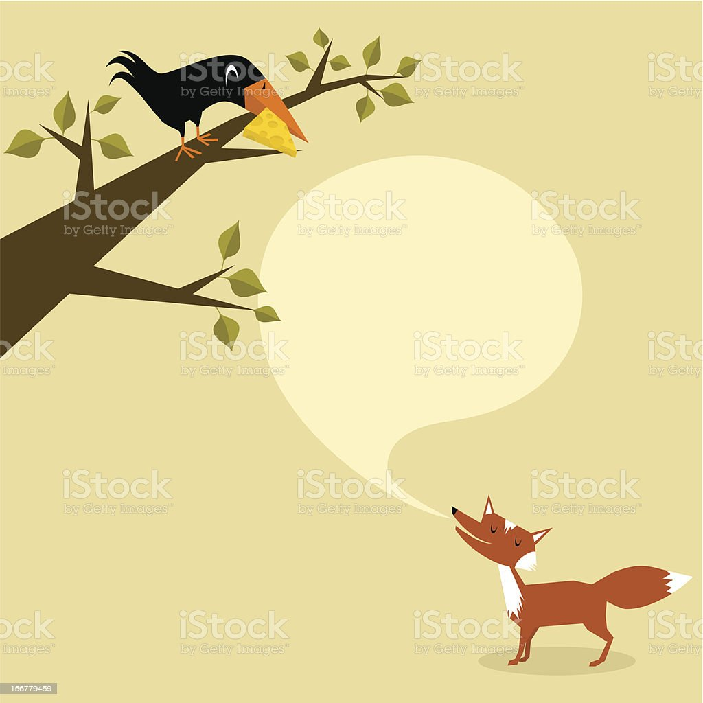 Fox and crow. Part 1 royalty-free stock vector art