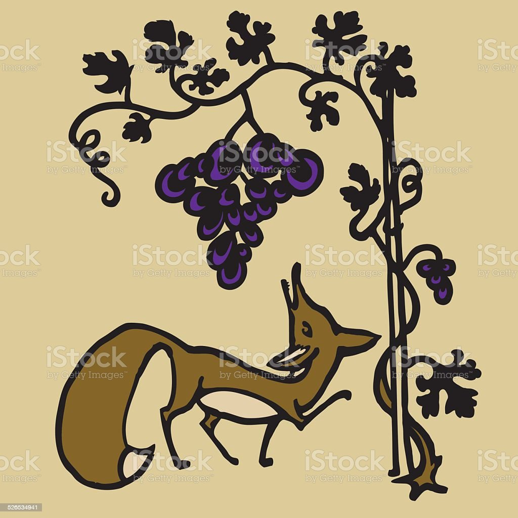 Fox and grapes vector art illustration