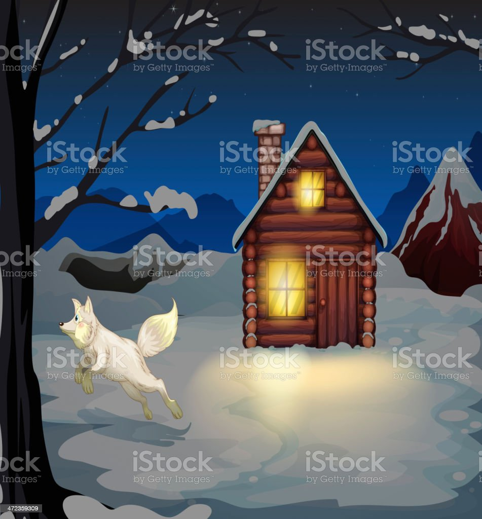Fox jumping outside the wooden house with snow royalty-free stock vector art
